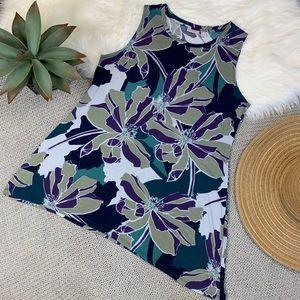 Logo layers purple green tropical sleeveless tunic